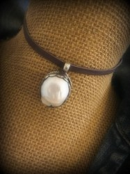 Oval Coin Pearl Pendant